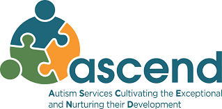 Logo for Ascend -- Autism Services Cultivating the Exceptional and Nurturing their Development -- Graphic shows a circle comprised of three puzzle pieces.