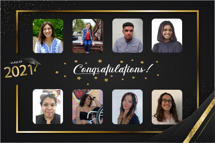 A graphic that shows Class of 2021 -- Congratulations. It also has portraits of the following people in two rows: Top Row: (Left to Right) Kayla Tilicki,Jordan Gotwalt,Daniel Hernandez,Laasya Vallabhaneni. Second Row (left to right):Leah Guerrero,Mahkyla Howes,Kai Glahn, andHaley Arnold