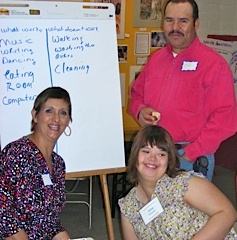 Irma Robles and her parents at a Nogales planning session