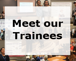 Link to Meet our Trainees, text over collage of images of trainees giving presentations