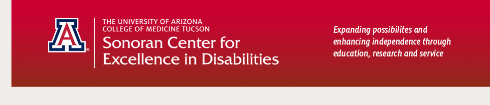 wordmark logo with red background for Sonoran Center for Excellence in Disabilities