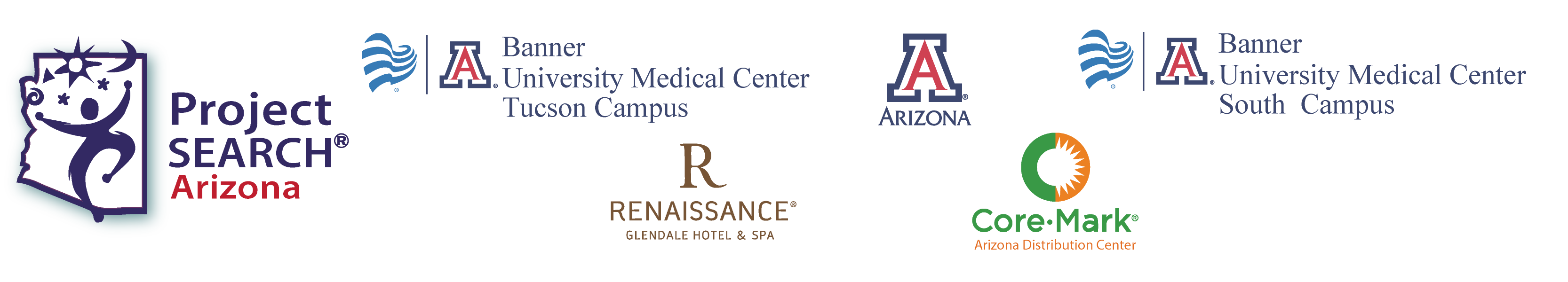 logos - Project SEARCH, Banner UMC Tucson, Banner UMC South, University of Arizona, Medtronic, Core-Mark Arizona Distribution Center, Renaissance Glendale Hotel and Spa