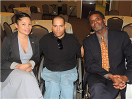 African American Symposium on Disability. Jacy Farkas, Devin Soto and AIDD Commissioner Aaron Bishop
