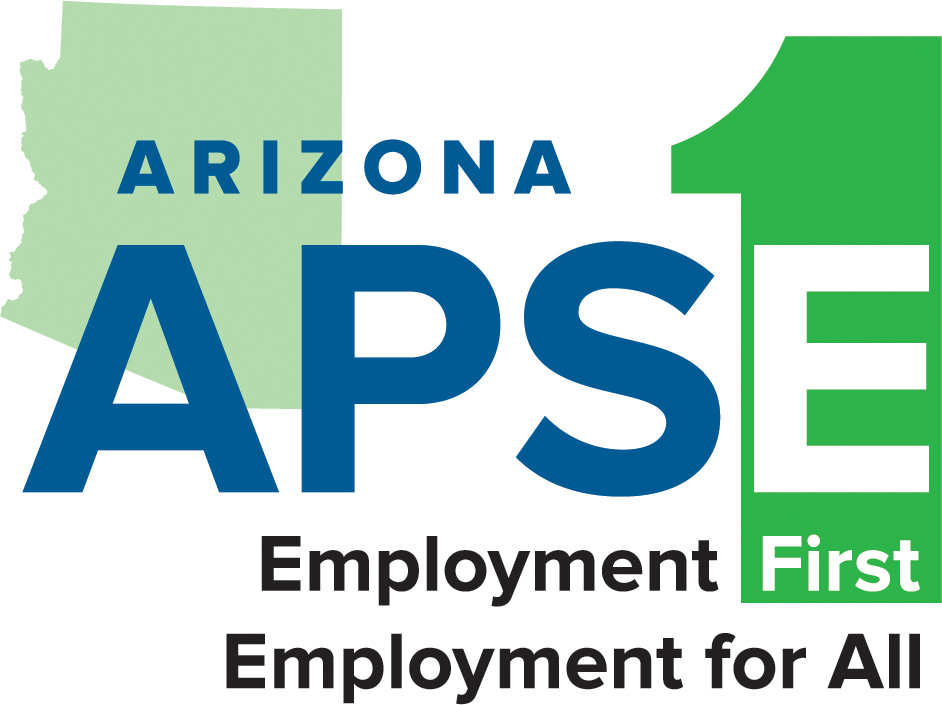 Arizona APSE logo: Employment First, Employment for all