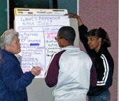 young man and his circle of supports working on a chart during a group planning session