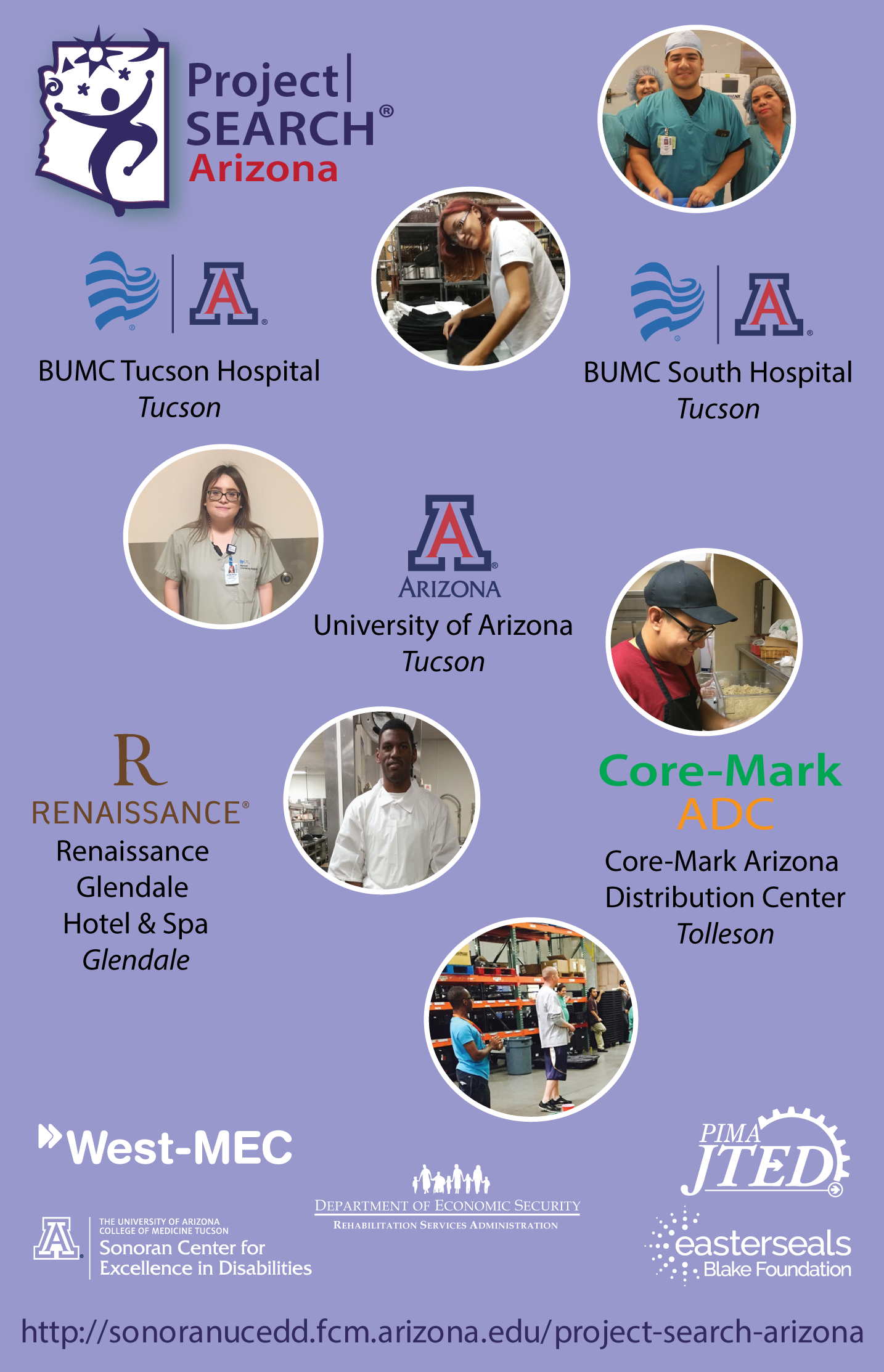 Project SEARCH Arizona graphic with list of all current programs in Arizona and partner logos