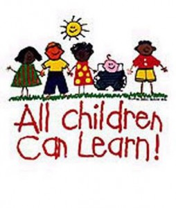 "graphic image of children with different abilities and races with text ""all children can learn!"""