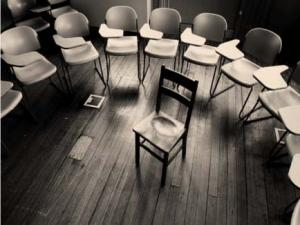 empty chairs in a classroom