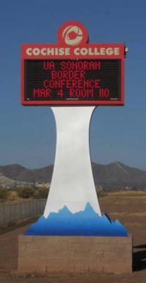 Welcome sign at Cochise College for Border Conference