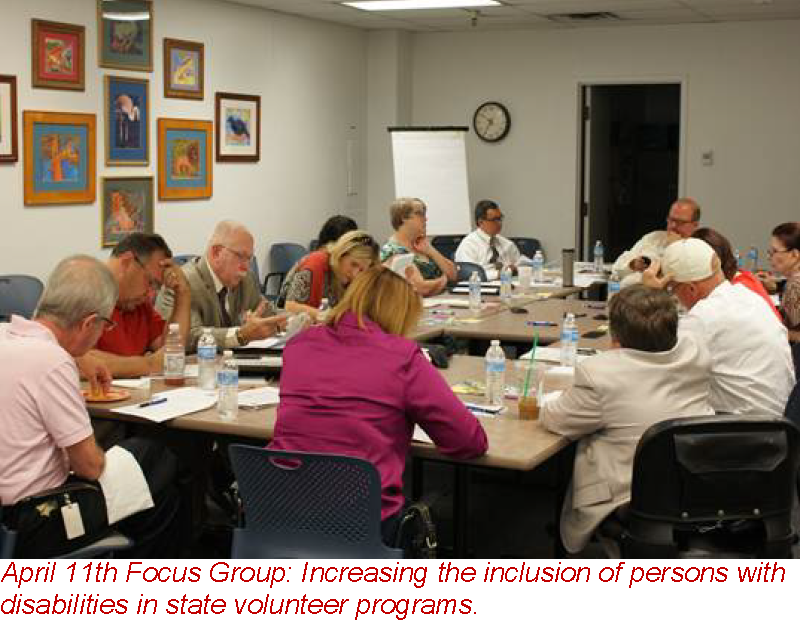 April 11th Focus Group: Increasing the inclusion of persons with disabilities in state volunteer programs.