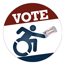 """Vote"" with new universal symbol for access with the figure holding a piece of paper with a box checked for ""Choice"" and not for ""Options"""